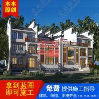 中式徽派双拼三层自建别墅设计图纸及全套施工图