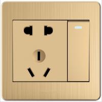 启牌电工低价墙壁开关插座86型一开五孔面板香槟金色