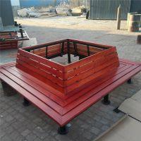 河北公园椅户外休闲椅防腐木靠背围树椅塑木平凳长椅套装桌凳