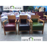韩尔品牌 上海工厂直销酒店SF08沙发 餐饮店会所单人实木沙发 西餐厅沙发可按需定制