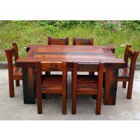 老船木家具批发实木长方形餐桌茶桌椅组合厚板茶桌