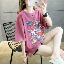 爆款女装短袖 韩版印花学生半袖t恤女 地摊热卖韩版新款女士上衣 棉 白色