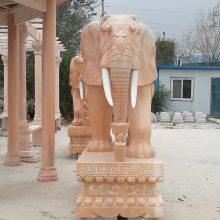石雕大象晚霞红门口招财镇宅如意象摆件一对园林景观水池喷水石象曲阳万洋雕刻厂家定做