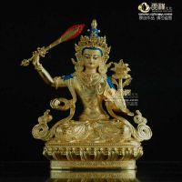 深圳天禅文殊菩萨镀金铜佛像 5寸 藏传佛教寺院佛堂供养铜鎏金佛像批发 黄铜精密铸造