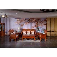 红木沙发销售-如金红木客厅缅甸花梨木沙发七件套组合