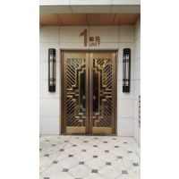 纯铜双开入户铜门、仿铜门 ,不锈钢铜门, 智能防盗门 北京地区免费测量安装