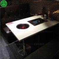 韩式无烟烧烤桌 自助韩式火锅烧烤一体桌 大理石电磁炉桌子 多多乐家具
