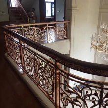锢雅精雕高品质纯铜雕刻楼梯护栏