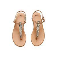 2018夏欧美新款HM 平底夹脚罗马凉鞋女夹趾T型细带镂空平跟凉鞋