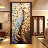 发财树水晶玻璃马赛克剪画拼花玄关背景墙客厅电视墙拼图装修材料