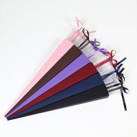 新款透明单支玫瑰盒花束礼盒情人节礼品三角形花束单枝花礼盒批发