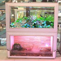 江彩流水瀑布生态热带鱼缸乌龟客厅加湿水族箱亮点白旺斯实木碳化厂家直销