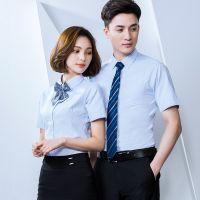 定制职业装男女同款衬衫企业公司工装吸汗白色工作服可绣LOGO