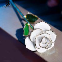 黛雅新款雪白色镀金玫瑰花天然玫瑰花材手工制作白色情人节礼物厂家批发