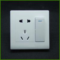 上民来明庆带开关电源插座A3二开五孔双控钢架面板 二三极带双开插座