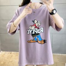 上海时尚女士纯棉T恤低价批发 便宜地摊货大量印花短袖批发 几元的T恤清货处理