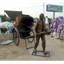 铸铜拉黄包车造型民国男人雕像旧上海人力车夫铜塑像玻璃钢拉东洋车人物雕塑广场商业步行街摆设