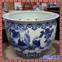 景德镇陶瓷鱼缸青花手绘1米大缸 荷花缸陶瓷泡澡缸洗浴缸