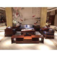 中山市刺猬紫檀红木新中式布艺沙发6件套 名琢世家