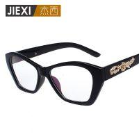 大牌时尚大框雕花镜腿平光眼镜架女士复古板材镜框 可配近视5045