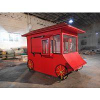 美食广场小吃车 移动食品售货车 景观防腐木流动售卖车