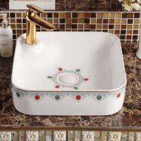 卫浴陶瓷盆台上盆欧式家装方型一体式无孔彩金洗手洗脸盆