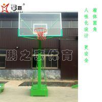平箱移动篮球架圆角箱体厚度3mm 立柱150*150 梯形后拉 钢化玻璃篮板