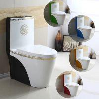 普通家用抽水陶瓷耐用简约防臭彩色座便器马桶