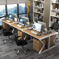 简约现代职员办公桌4人位带屏风卡座工作位办公电脑桌椅组合批发