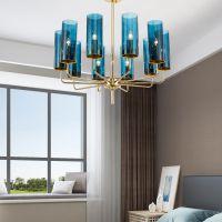 简欧美式客厅吊灯轻奢艺术餐厅蓝色玻璃灯具