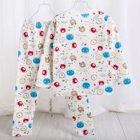 欧美婴儿服装秋冬 中性婴幼童内衣内裤新生儿长袖纯棉卡通两件套