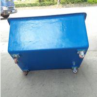 现货供应:服装车间用装布箱 宾馆洗衣房用四轮装布桶 兴优力牌玻璃钢漂染桶
