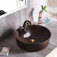 卫生间陶瓷台上盆褐色哑光单孔艺术盆洗手盆