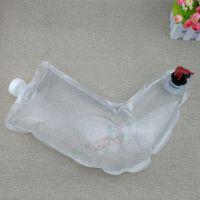厂家订做透明异形红酒袋 3L蝶阀液体包装袋 大口径袜子式果酒吸嘴袋