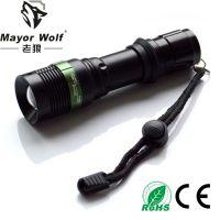 供应厂家批发 led变焦手电筒 户外用品骑行强光照明防身用