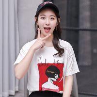 2018夏装新款韩版短袖T恤女印花宽松上衣ulzzang体恤圆领潮打底衫