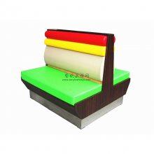 新款撞色软包板式卡座沙发,东莞南城区简约餐饮家具定制厂