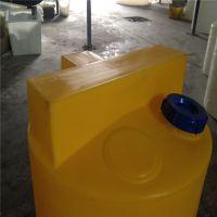新款加厚2000升2吨加药箱带电机锥底PAC溶药搅拌罐塑料水桶