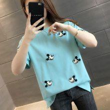 2018时尚韩版女装T恤批发厂家 便宜棉短袖套头服装广州摆地摊货源