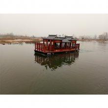 湖北木船厂家出售大型豪华双层画舫船 特色餐饮船 表演画舫船 玻璃钢电动观光船