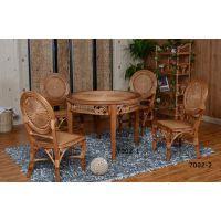藤格格 7002-2 厂家批发现代中式藤餐桌藤编餐餐桌椅组合实木 6人圆形实木藤木餐椅