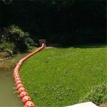 水面拦污效果图 水面飘浮垃圾拦截浮体 拦污浮球