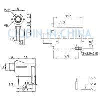 东莞市硕方电子科技有限公司 双声道单声道插座PJ-02 外形尺寸:15.0mm*8.0mm*12.0