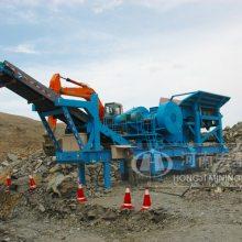 宏基时产100吨移动式建筑垃圾筛分站用在拆迁现场