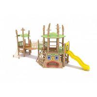 新型儿童木质无动力趣味城堡、户外大型木质攀爬儿童游乐设施