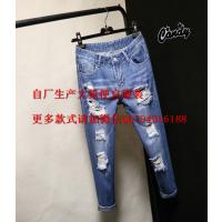 广州便宜夏季女士牛仔裤批发九分休闲破洞牛仔裤清货 浅蓝棉
