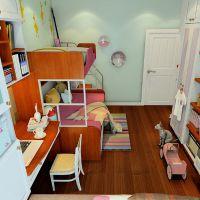 免费量尺定制卧室家具 女孩 青少年卧室家具 梳妆台 床头柜