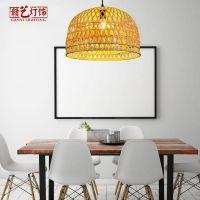 竹灯吊灯现代客厅餐厅灯具个性创意东南亚乡村竹编灯饰厂家