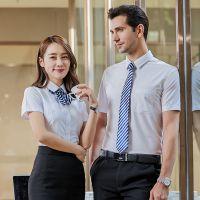 平纹免烫衬衫2018夏季职业装工装衬衣男女同款工作服可绣logo