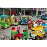 户外娱乐电瓶四座小火车 电玩游乐设备轨道六座小火车 彩灯转圈遥控电瓶小火车